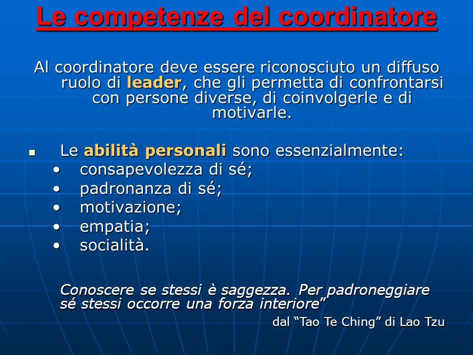 Il coordinatore deve possedere le conoscenze pratiche essenziali, indispensabili alla comprensione e conduzione delle attività del ruolo e certamente