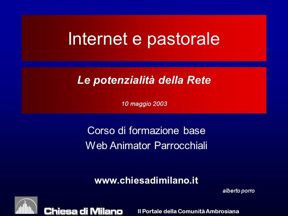 Il Portale della Comunità Ambrosiana WA/05/03 52 Utenti Internet Italia per tipo di attività Allargamento a categorie più ampie, notevole diffusione tra impiegati e insegnanti.