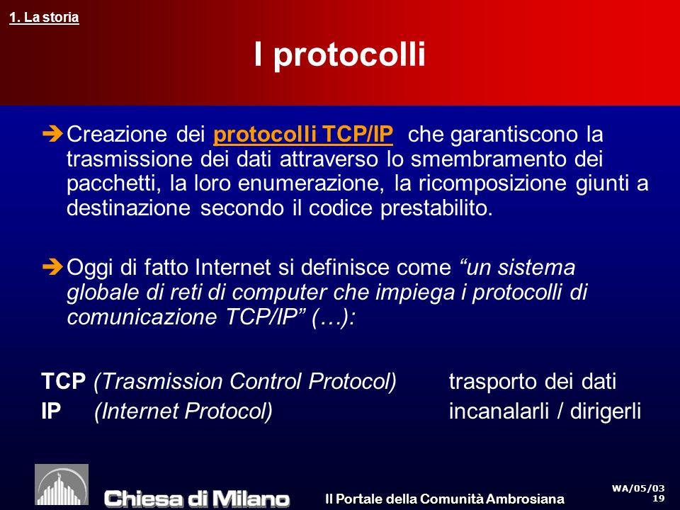 Il Portale della Comunità Ambrosiana WA/05/03 19 I protocolli Creazione dei protocolli TCP/IP che garantiscono la trasmissione dei dati attraverso lo smembramento dei pacchetti, la loro enumerazione, la ricomposizione giunti a destinazione secondo il codice prestabilito.