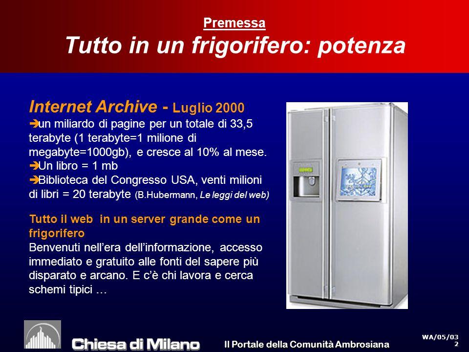 Il Portale della Comunità Ambrosiana WA/05/03 2 Premessa Tutto in un frigorifero: potenza Internet Archive - Luglio 2000 un miliardo di pagine per un totale di 33,5 terabyte (1 terabyte=1 milione di megabyte=1000gb), e cresce al 10% al mese.