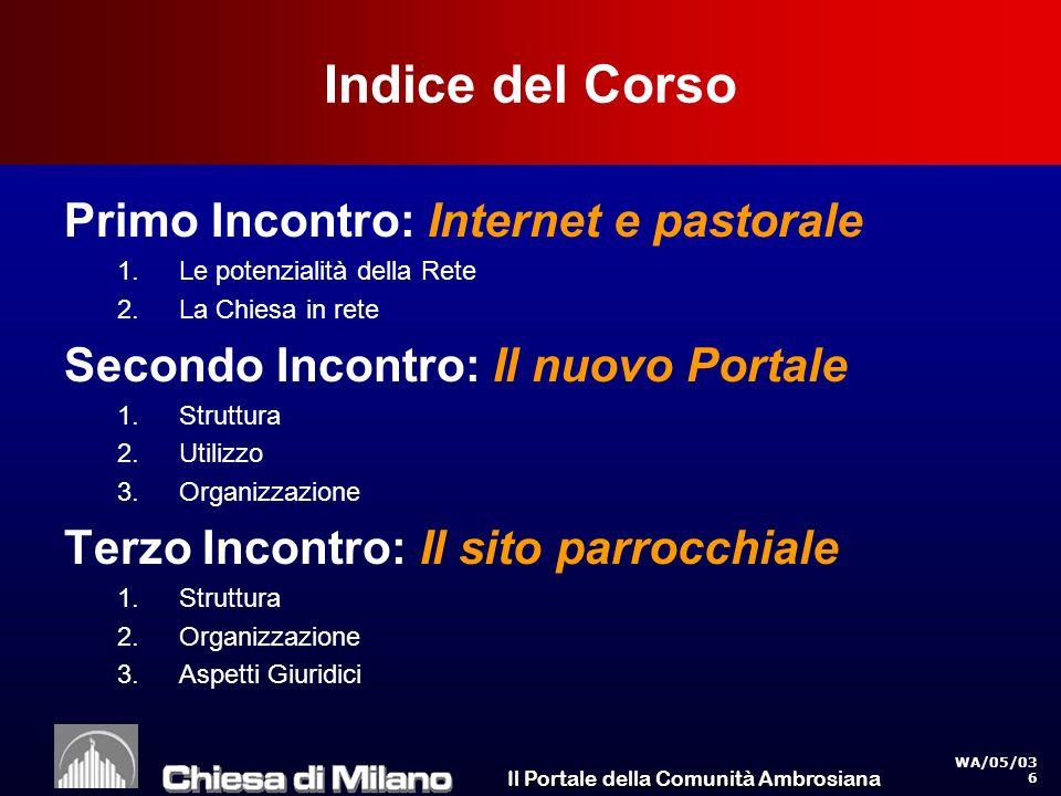 Il Portale della Comunità Ambrosiana WA/05/03 47 Utenti da casa Italia La parte rossa delle barre indica il cambiamento in un anno Il 50% delle persone che dispongono di un collegamento, lo usano almeno una volta al mese Percentuale sul totale della popolazione 4.