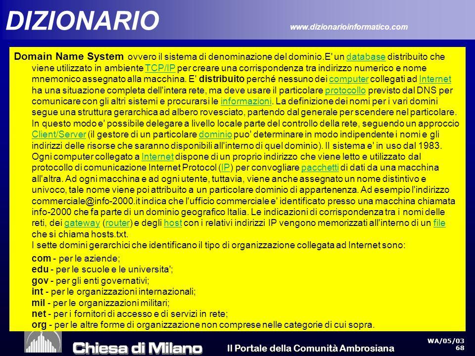 Il Portale della Comunità Ambrosiana WA/05/03 68 DIZIONARIO www.dizionarioinformatico.com Domain Name System ovvero il sistema di denominazione del dominio.E un database distribuito che viene utilizzato in ambiente TCP/IP per creare una corrispondenza tra indirizzo numerico e nome mnemonico assegnato alla macchina.