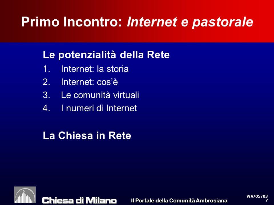 Il Portale della Comunità Ambrosiana WA/05/03 7 Primo Incontro: Internet e pastorale Le potenzialità della Rete 1.Internet: la storia 2.Internet: cosè 3.Le comunità virtuali 4.I numeri di Internet La Chiesa in Rete