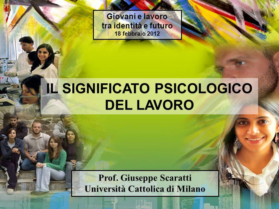 IL SIGNIFICATO PSICOLOGICO DEL LAVORO Prof.