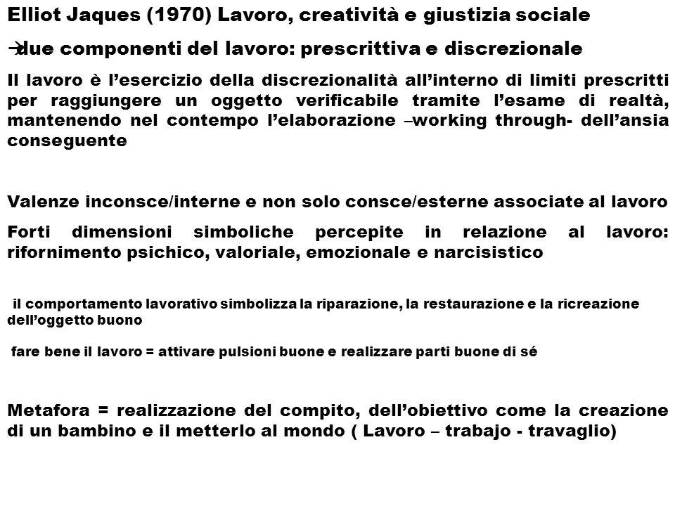 Elliot Jaques (1970) Lavoro, creatività e giustizia sociale due componenti del lavoro: prescrittiva e discrezionale Il lavoro è lesercizio della discr