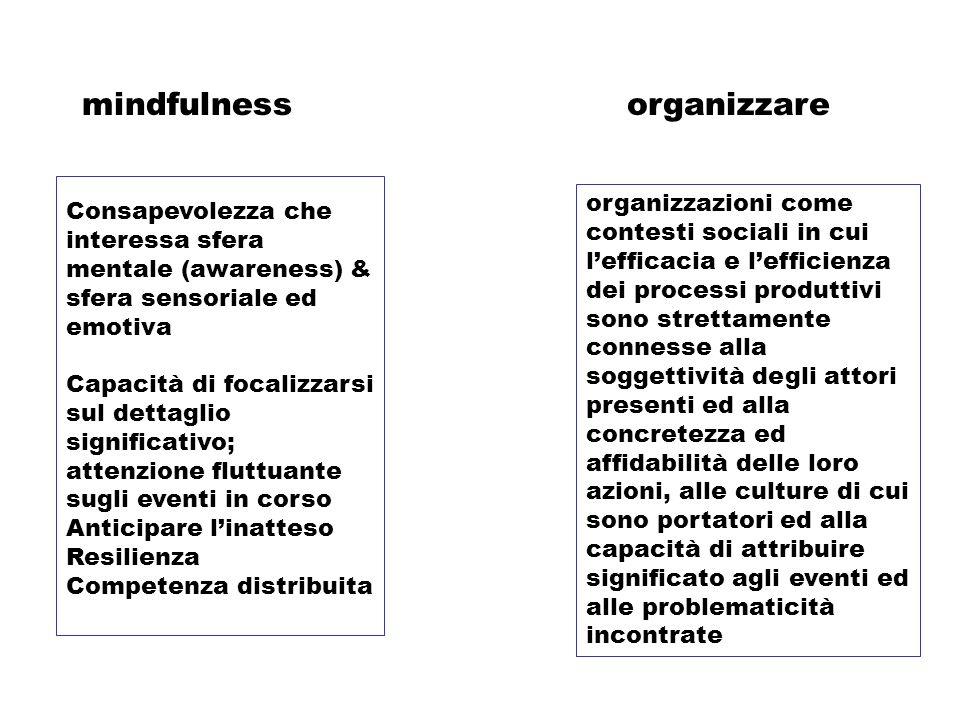 organizzaremindfulness Consapevolezza che interessa sfera mentale (awareness) & sfera sensoriale ed emotiva Capacità di focalizzarsi sul dettaglio sig