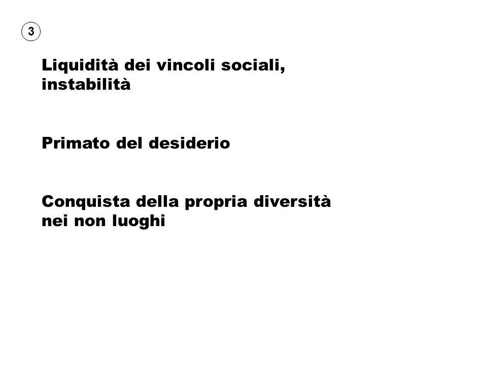 Liquidità dei vincoli sociali, instabilità Primato del desiderio Conquista della propria diversità nei non luoghi 3