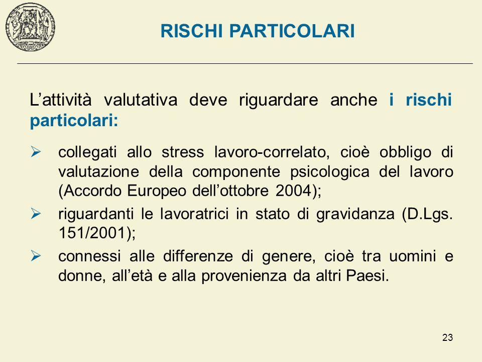 23 collegati allo stress lavoro-correlato, cioè obbligo di valutazione della componente psicologica del lavoro (Accordo Europeo dellottobre 2004); rig