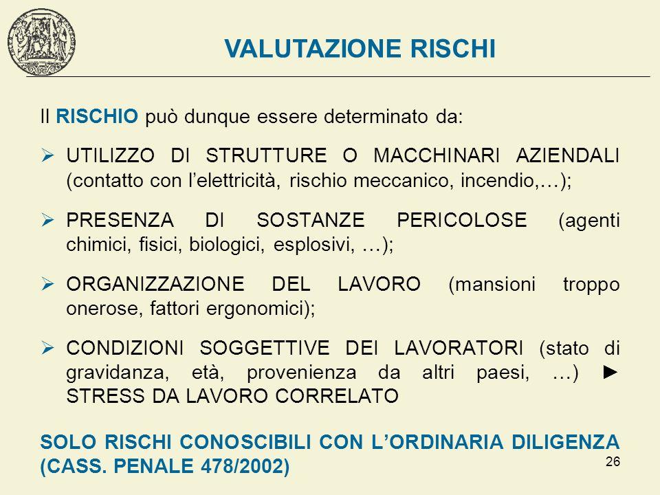 26 Il RISCHIO può dunque essere determinato da: UTILIZZO DI STRUTTURE O MACCHINARI AZIENDALI (contatto con lelettricità, rischio meccanico, incendio,…