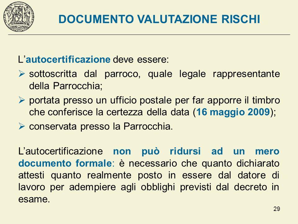 29 Lautocertificazione deve essere: sottoscritta dal parroco, quale legale rappresentante della Parrocchia; portata presso un ufficio postale per far