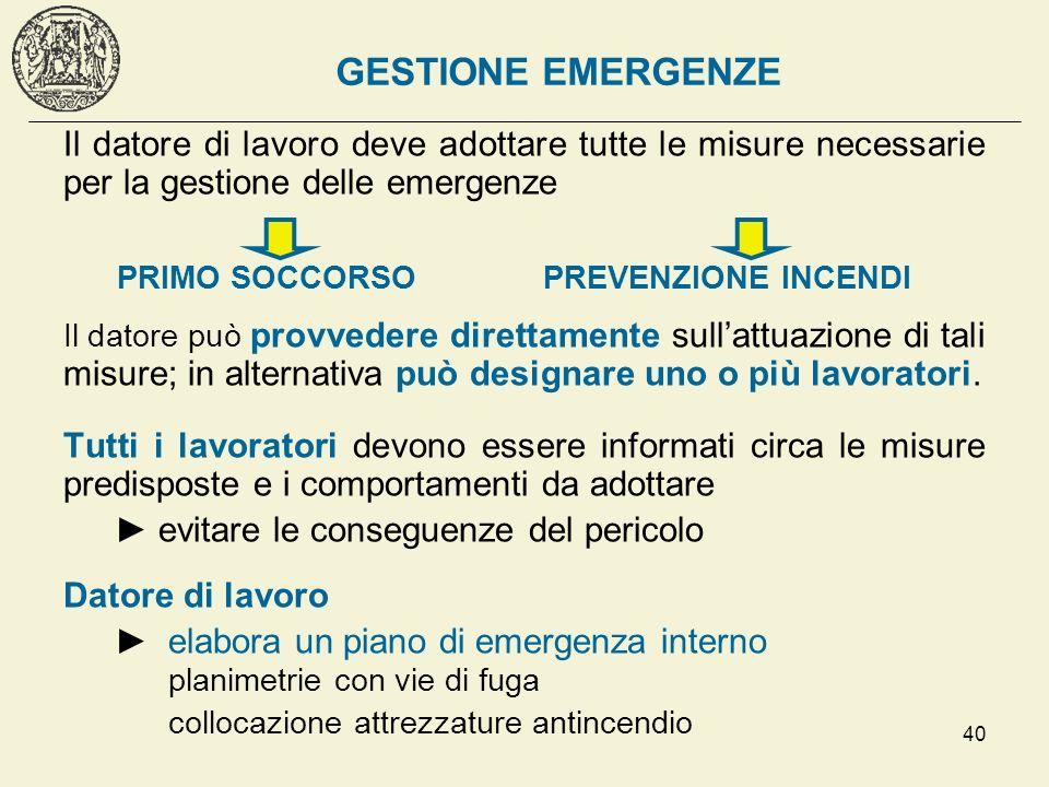 40 GESTIONE EMERGENZE Il datore di lavoro deve adottare tutte le misure necessarie per la gestione delle emergenze PRIMO SOCCORSO PREVENZIONE INCENDI
