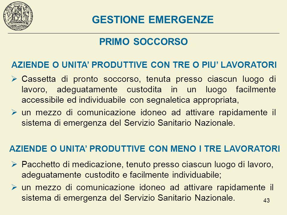 43 PRIMO SOCCORSO Cassetta di pronto soccorso, tenuta presso ciascun luogo di lavoro, adeguatamente custodita in un luogo facilmente accessibile ed in