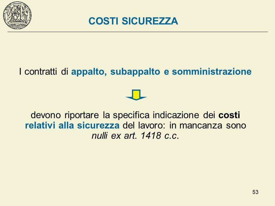 53 COSTI SICUREZZA I contratti di appalto, subappalto e somministrazione devono riportare la specifica indicazione dei costi relativi alla sicurezza d