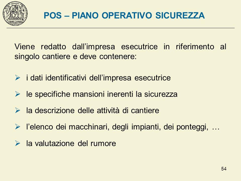 54 POS – PIANO OPERATIVO SICUREZZA Viene redatto dallimpresa esecutrice in riferimento al singolo cantiere e deve contenere: i dati identificativi del