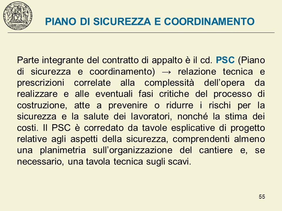 55 PIANO DI SICUREZZA E COORDINAMENTO Parte integrante del contratto di appalto è il cd. PSC (Piano di sicurezza e coordinamento) relazione tecnica e