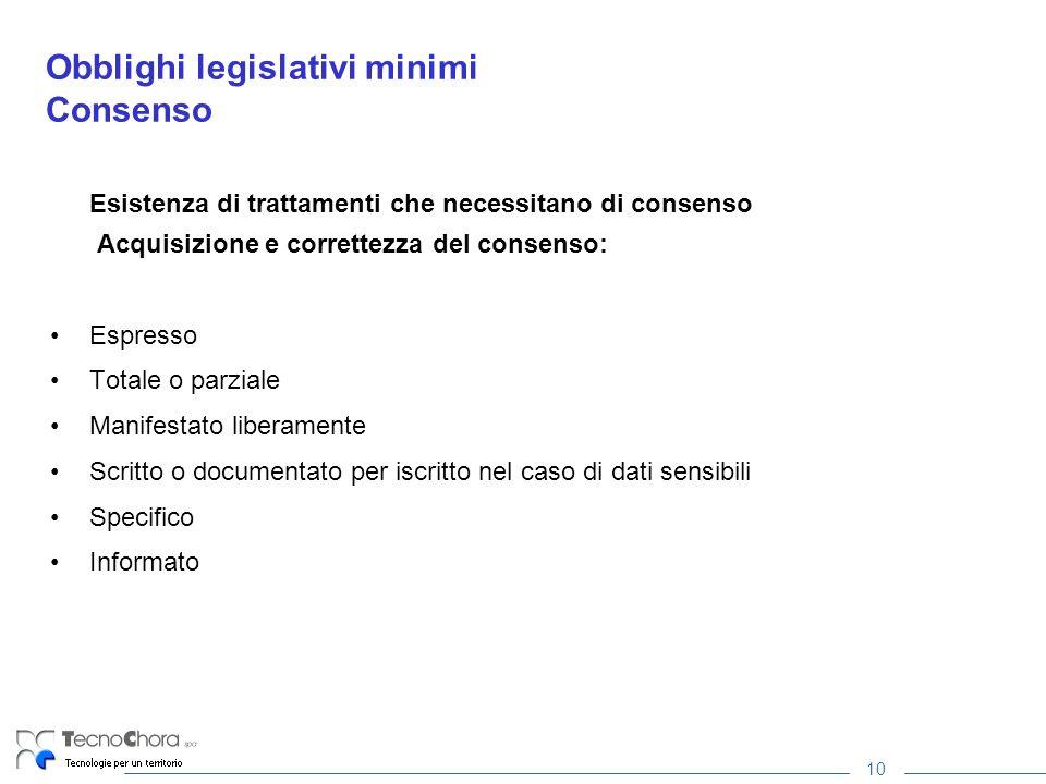 10 Obblighi legislativi minimi Consenso Esistenza di trattamenti che necessitano di consenso Acquisizione e correttezza del consenso: Espresso Totale
