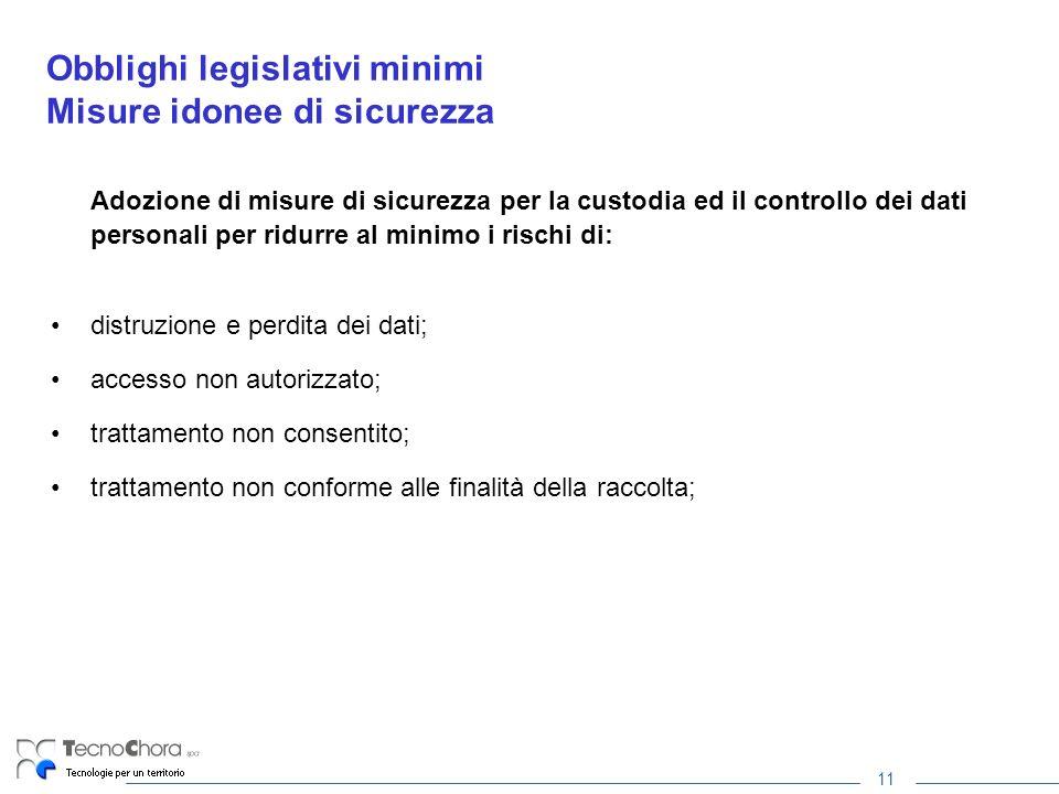 11 Obblighi legislativi minimi Misure idonee di sicurezza Adozione di misure di sicurezza per la custodia ed il controllo dei dati personali per ridur