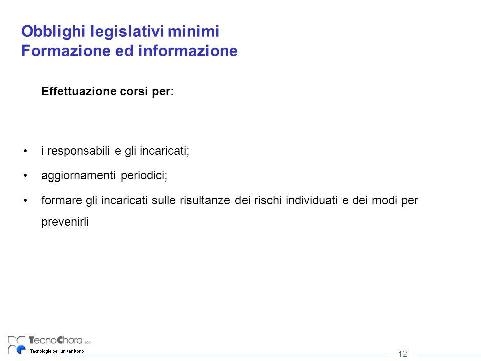 12 Obblighi legislativi minimi Formazione ed informazione Effettuazione corsi per: i responsabili e gli incaricati; aggiornamenti periodici; formare g