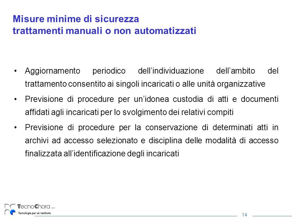14 Misure minime di sicurezza trattamenti manuali o non automatizzati Aggiornamento periodico dellindividuazione dellambito del trattamento consentito