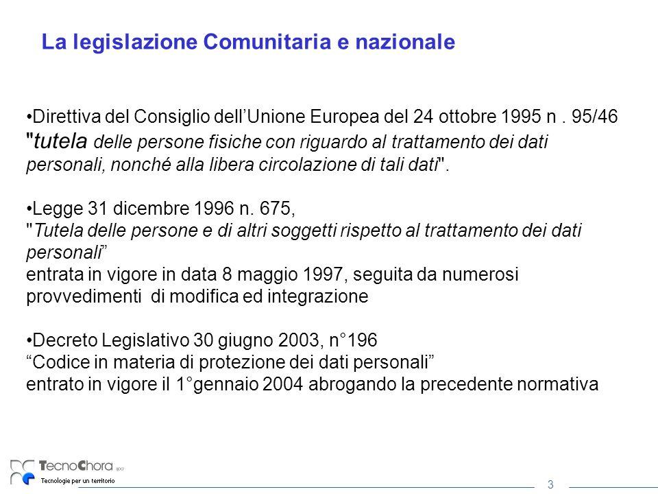 3 La legislazione Comunitaria e nazionale Direttiva del Consiglio dellUnione Europea del 24 ottobre 1995 n. 95/46