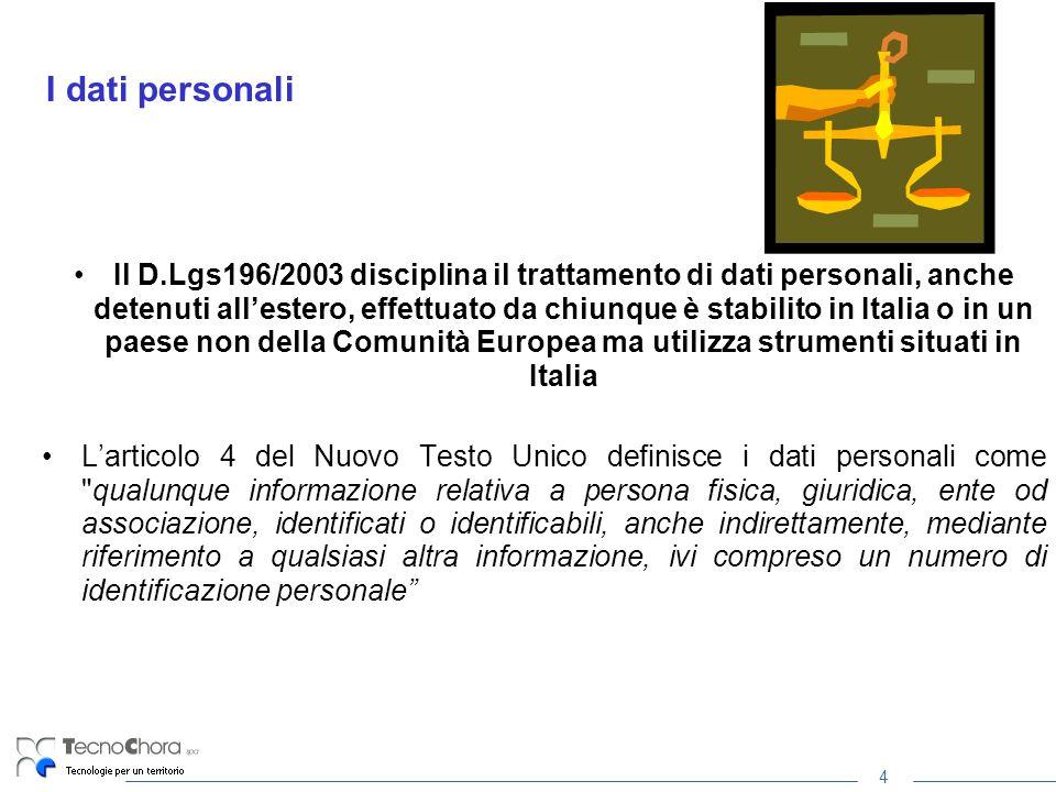 4 I dati personali Il D.Lgs196/2003 disciplina il trattamento di dati personali, anche detenuti allestero, effettuato da chiunque è stabilito in Itali