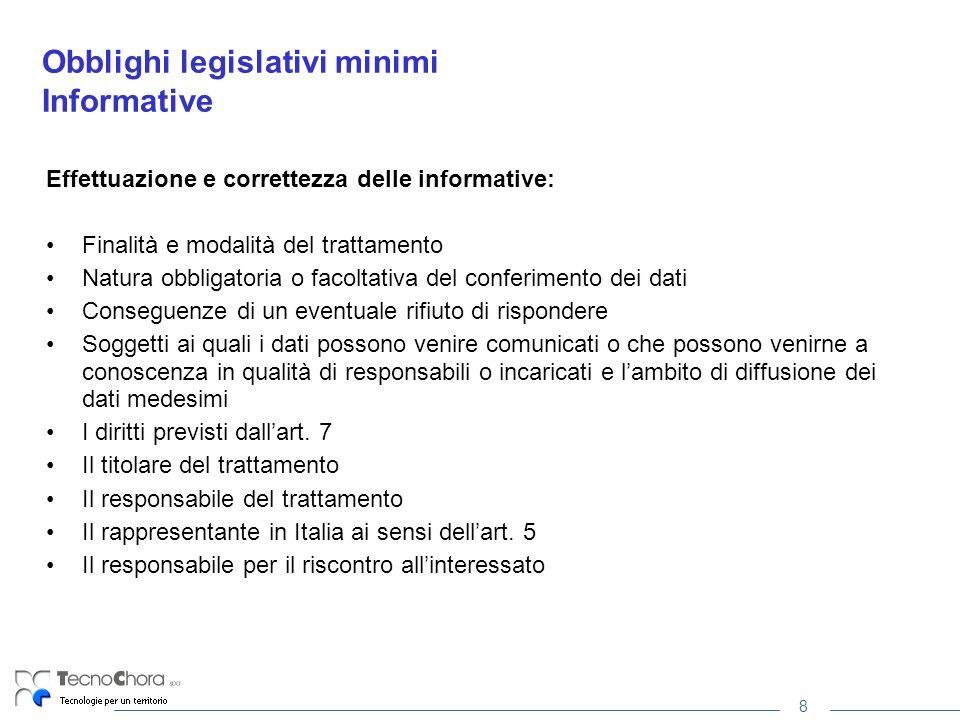 8 Obblighi legislativi minimi Informative Effettuazione e correttezza delle informative: Finalità e modalità del trattamento Natura obbligatoria o fac