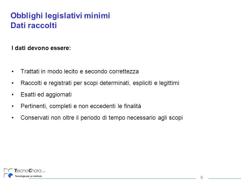 9 Obblighi legislativi minimi Dati raccolti I dati devono essere: Trattati in modo lecito e secondo correttezza Raccolti e registrati per scopi determ