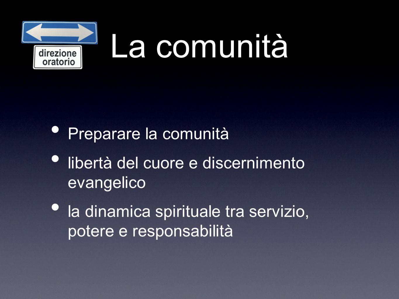 La comunità Preparare la comunità libertà del cuore e discernimento evangelico la dinamica spirituale tra servizio, potere e responsabilità