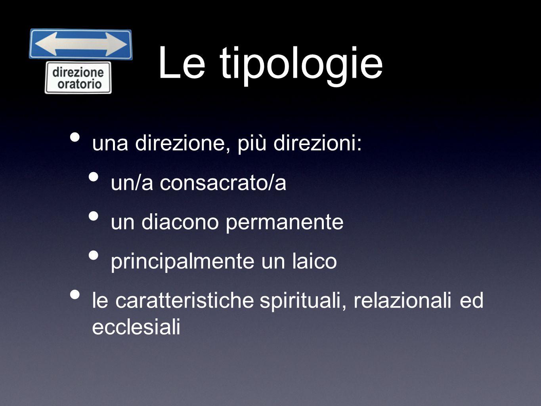 Le tipologie una direzione, più direzioni: un/a consacrato/a un diacono permanente principalmente un laico le caratteristiche spirituali, relazionali ed ecclesiali