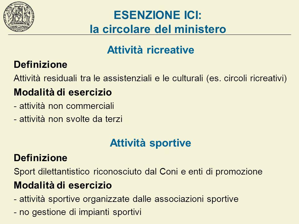 ESENZIONE ICI: la circolare del ministero Attività ricreative Definizione Attività residuali tra le assistenziali e le culturali (es. circoli ricreati