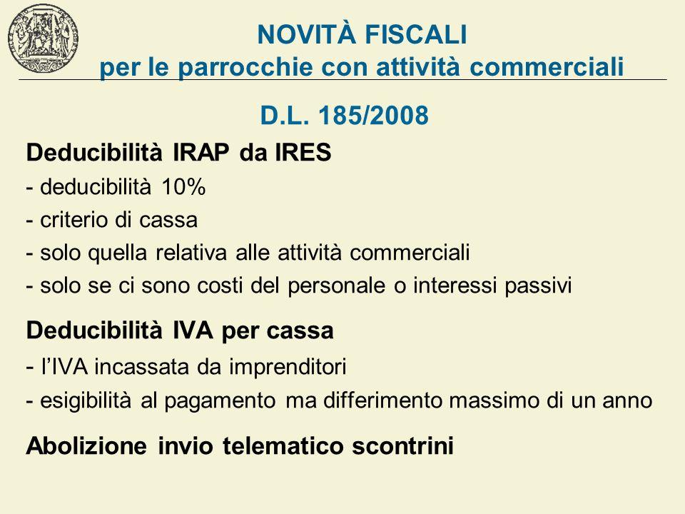 NOVITÀ FISCALI per le parrocchie con attività commerciali D.L. 185/2008 Deducibilità IRAP da IRES - deducibilità 10% - criterio di cassa - solo quella