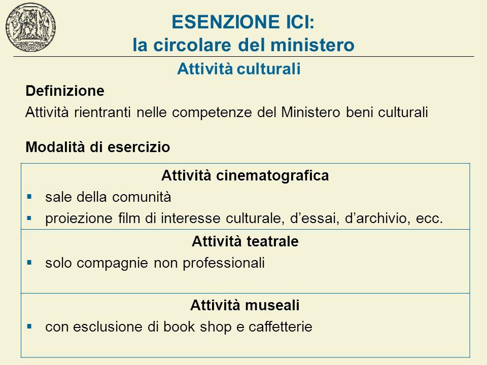 ESENZIONE ICI: la circolare del ministero Attività culturali Definizione Attività rientranti nelle competenze del Ministero beni culturali Modalità di