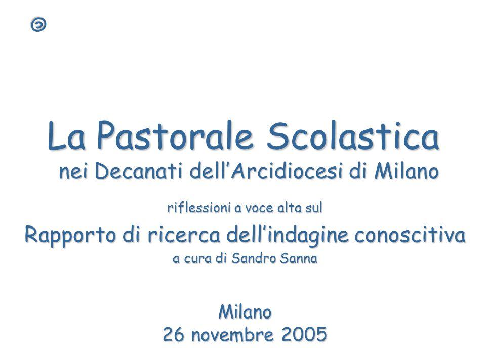 La Pastorale Scolastica nei Decanati dellArcidiocesi di Milano riflessioni a voce alta sul Rapporto di ricerca dellindagine conoscitiva a cura di Sand
