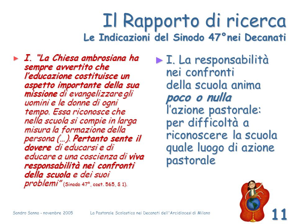 Sandro Sanna - novembre 2005La Pastorale Scolastica nei Decanati dell Arcidiocesi di Milano 11 Il Rapporto di ricerca Le Indicazioni del Sinodo 47°nei Decanati I.