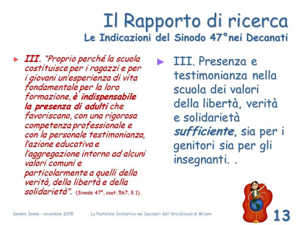 Sandro Sanna - novembre 2005La Pastorale Scolastica nei Decanati dell Arcidiocesi di Milano 13 Il Rapporto di ricerca Le Indicazioni del Sinodo 47°nei Decanati III.
