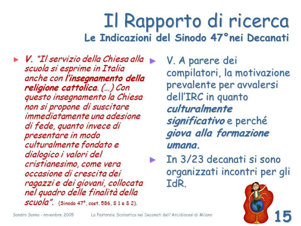 Sandro Sanna - novembre 2005La Pastorale Scolastica nei Decanati dell Arcidiocesi di Milano 15 Il Rapporto di ricerca Le Indicazioni del Sinodo 47°nei Decanati V.