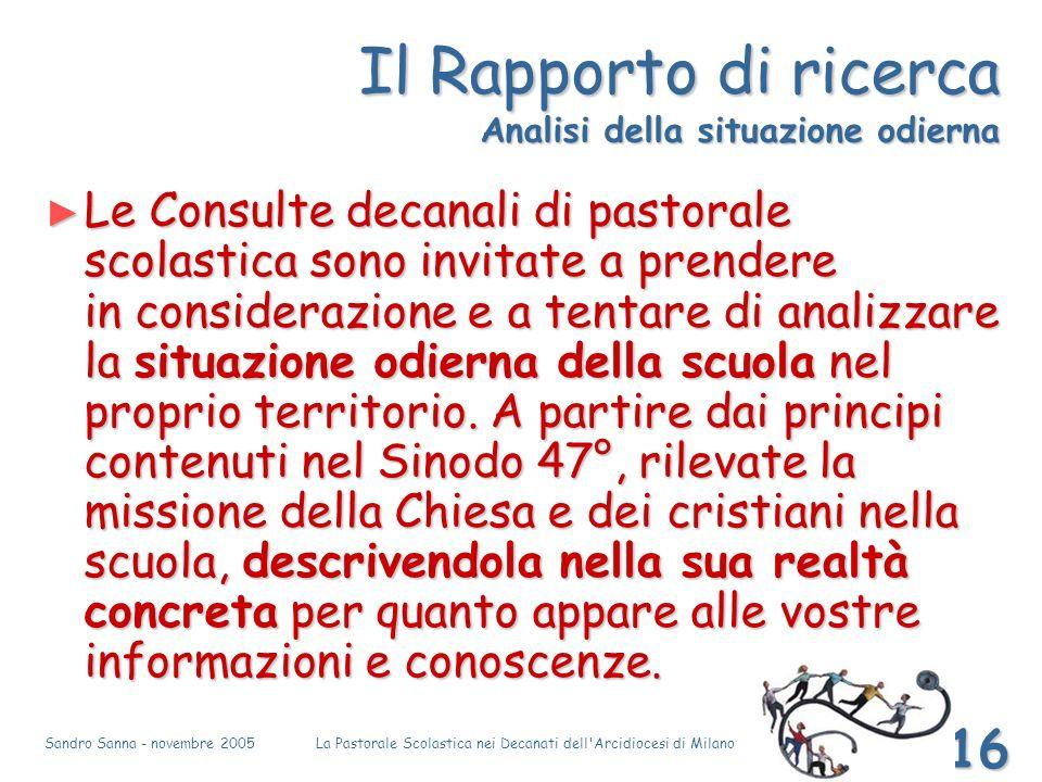 Sandro Sanna - novembre 2005La Pastorale Scolastica nei Decanati dell'Arcidiocesi di Milano 16 Il Rapporto di ricerca Analisi della situazione odierna