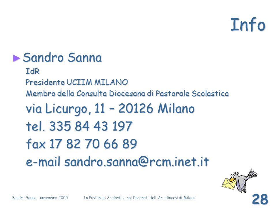 Sandro Sanna - novembre 2005La Pastorale Scolastica nei Decanati dell'Arcidiocesi di Milano 28 Info Sandro Sanna Sandro SannaIdR Presidente UCIIM MILA
