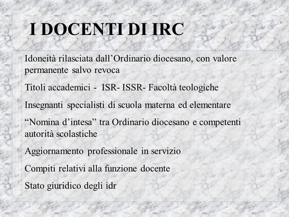 I DOCENTI DI IRC Idoneità rilasciata dallOrdinario diocesano, con valore permanente salvo revoca Titoli accademici - ISR- ISSR- Facoltà teologiche Ins