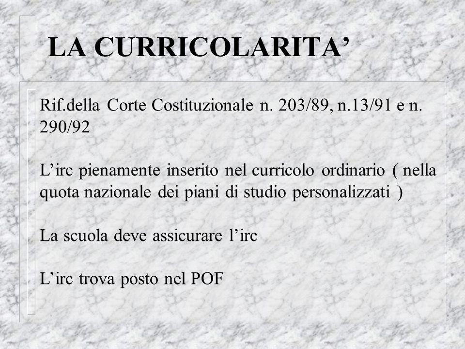 LA CURRICOLARITA Rif.della Corte Costituzionale n. 203/89, n.13/91 e n. 290/92 Lirc pienamente inserito nel curricolo ordinario ( nella quota nazional