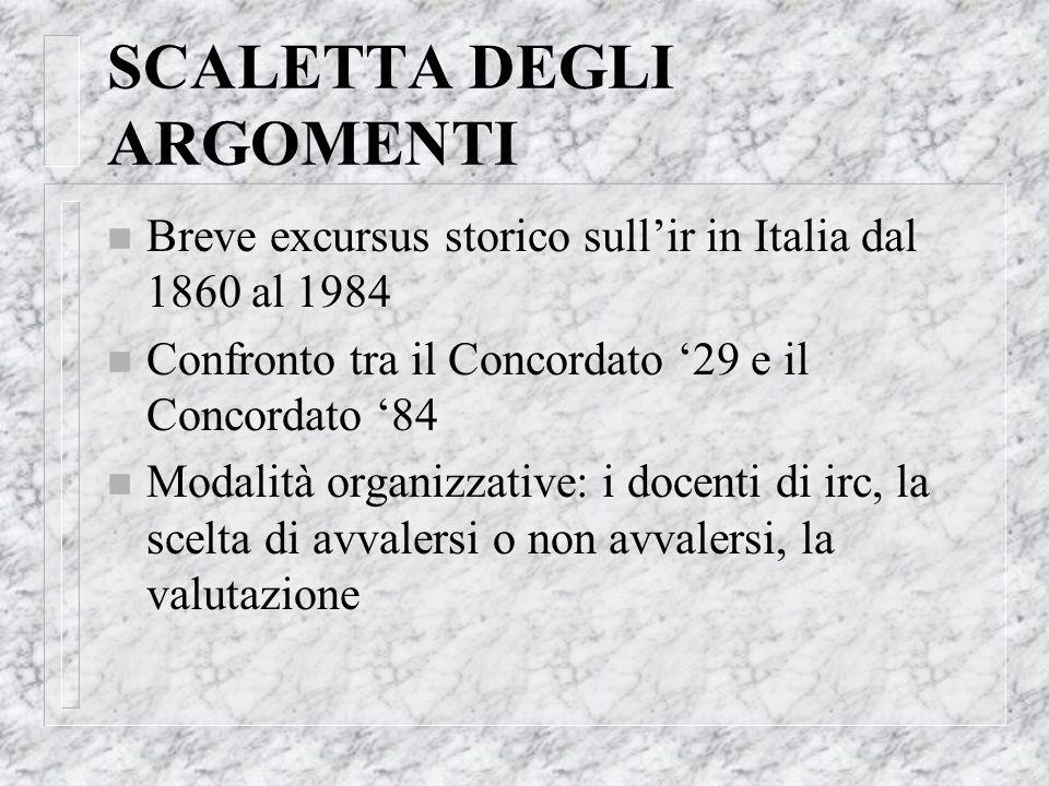 SCALETTA DEGLI ARGOMENTI n Breve excursus storico sullir in Italia dal 1860 al 1984 n Confronto tra il Concordato 29 e il Concordato 84 n Modalità org