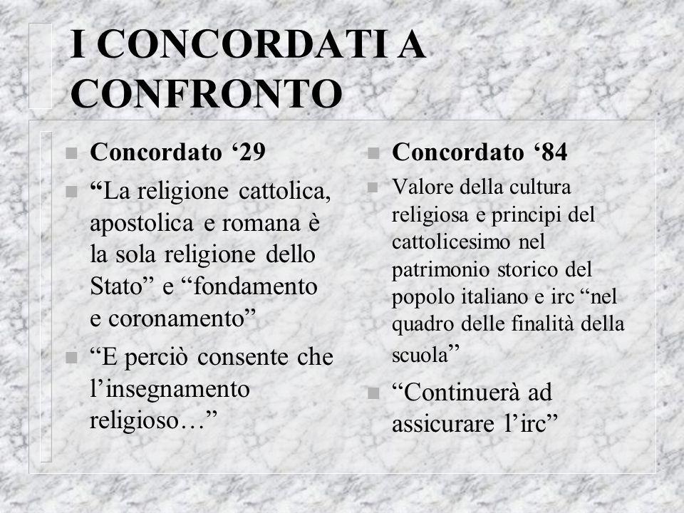 I CONCORDATI A CONFRONTO n Concordato 29 nLa religione cattolica, apostolica e romana è la sola religione dello Stato e fondamento e coronamento n E p
