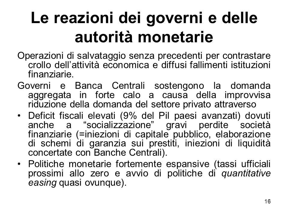 16 Le reazioni dei governi e delle autorità monetarie Operazioni di salvataggio senza precedenti per contrastare crollo dellattività economica e diffusi fallimenti istituzioni finanziarie.