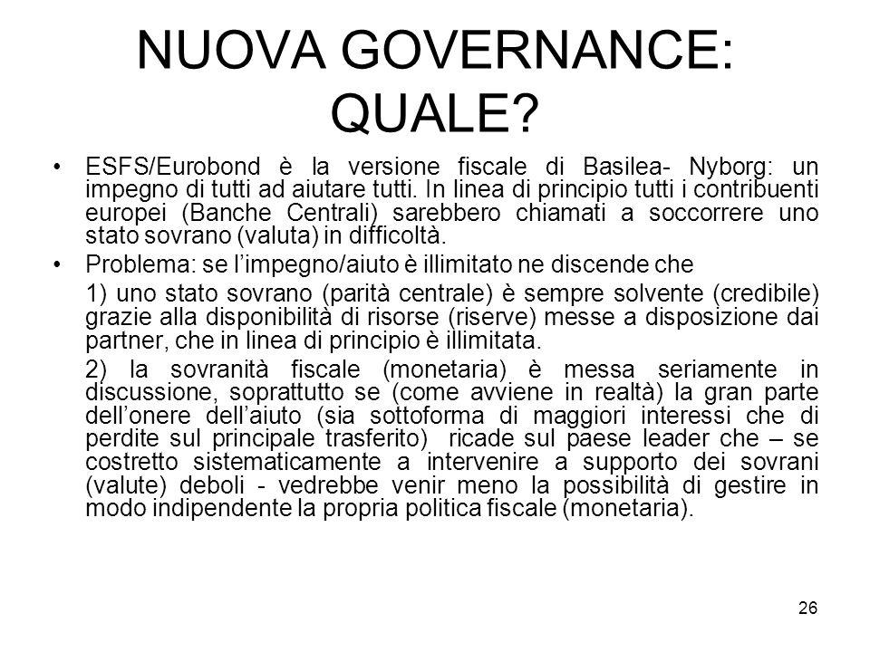 26 NUOVA GOVERNANCE: QUALE.