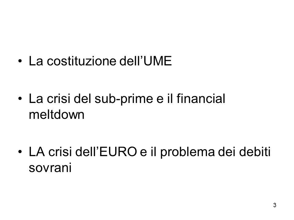 3 La costituzione dellUME La crisi del sub-prime e il financial meltdown LA crisi dellEURO e il problema dei debiti sovrani
