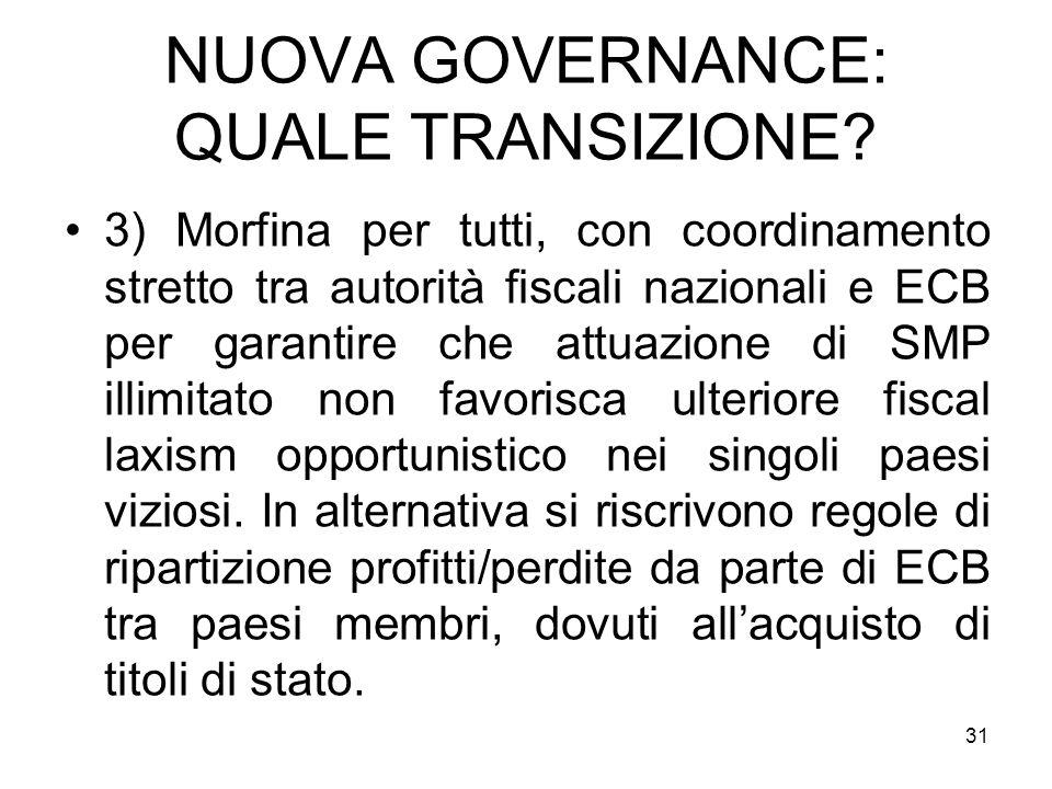 31 NUOVA GOVERNANCE: QUALE TRANSIZIONE.