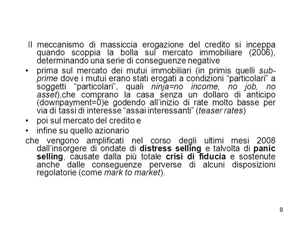 10 La crisi quindi scoppia allinterno di un sistema caratterizzato dalla notevolissima erogazione di credito (=notevolissima assunzione di debito).