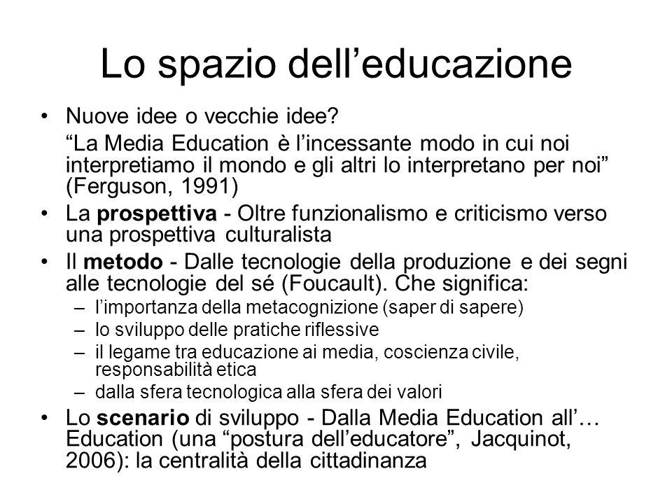 Lo spazio delleducazione Nuove idee o vecchie idee? La Media Education è lincessante modo in cui noi interpretiamo il mondo e gli altri lo interpretan