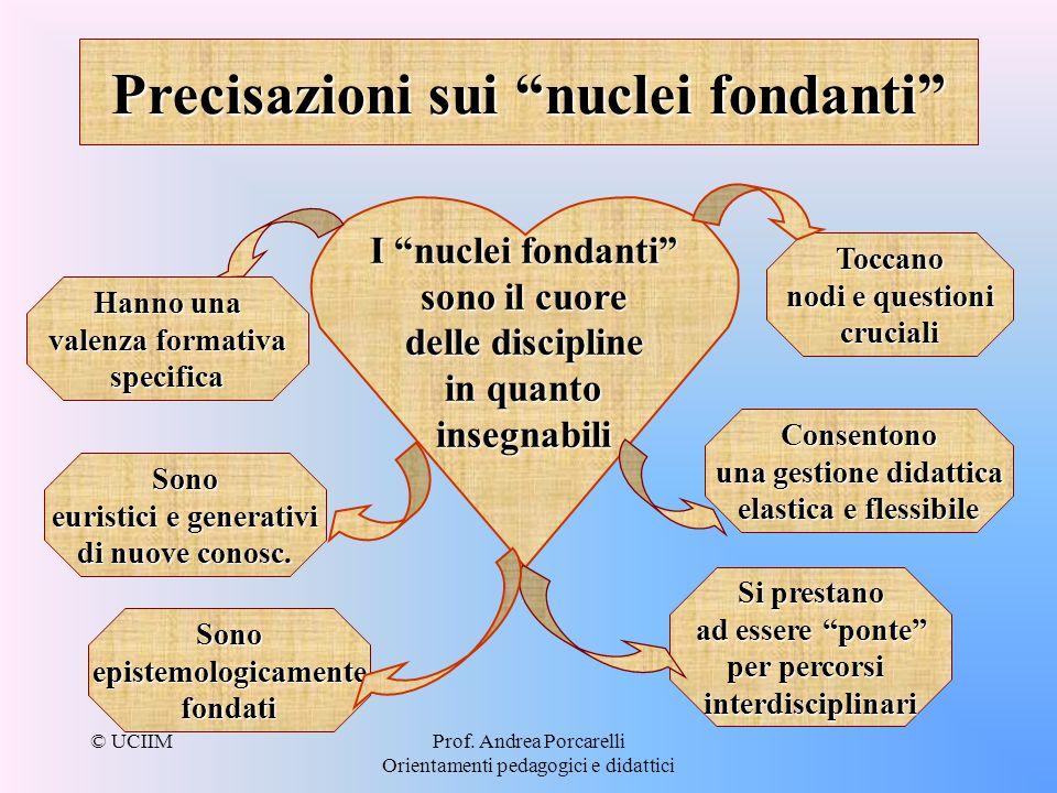 © UCIIMProf. Andrea Porcarelli Orientamenti pedagogici e didattici Precisazioni sui nuclei fondanti I nuclei fondanti sono il cuore delle discipline i