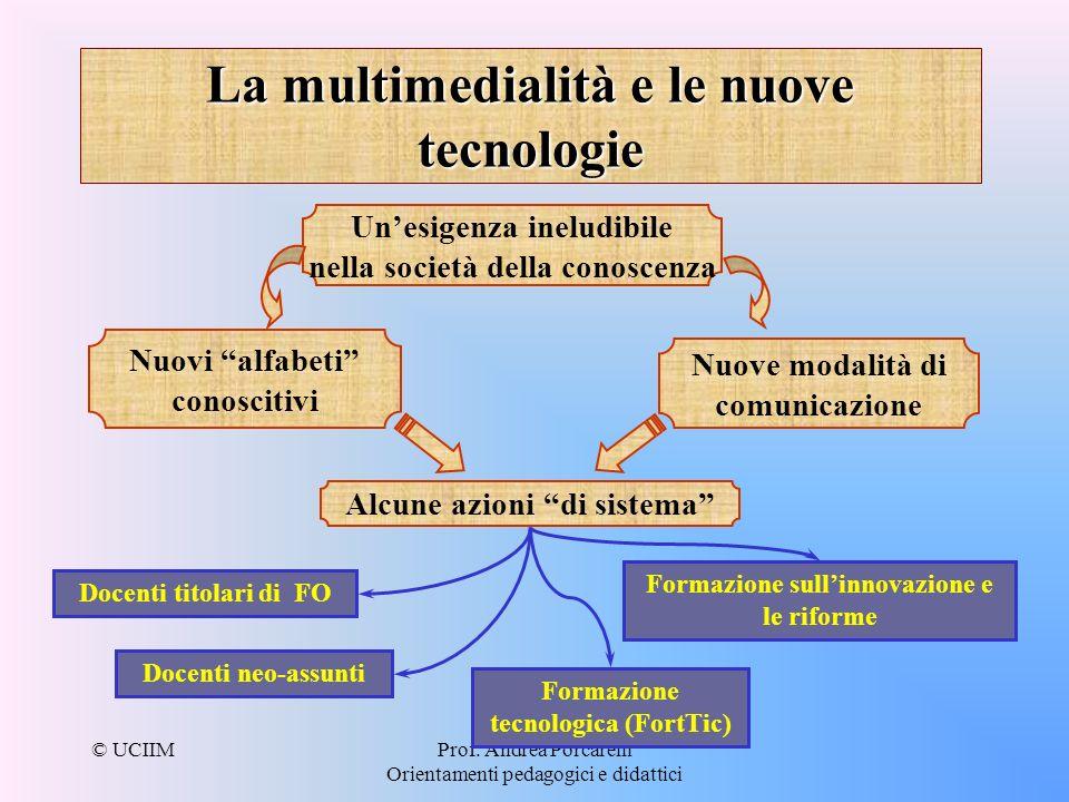 © UCIIMProf. Andrea Porcarelli Orientamenti pedagogici e didattici La multimedialità e le nuove tecnologie Unesigenza ineludibile nella società della